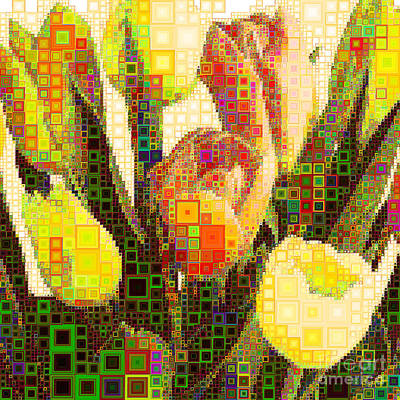 Photograph - Bouquet Of Tulips In Abstract Squares 20190201sq by Wingsdomain Art and Photography
