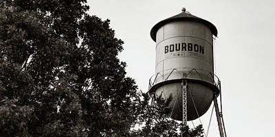 Photograph - Bourbon Panoramic Sepia Water Tower And Foliage by Gregory Ballos