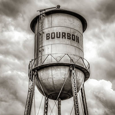 Photograph - Bourbon Sepia Whiskey Water Tower Barrel And Cloudy Skies by Gregory Ballos