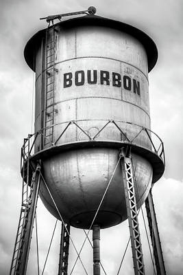 Photograph - Bourbon Vintage Water Tower Up Close - Monochrome by Gregory Ballos