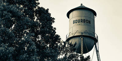 Photograph - Bourbon Water Tower And Foliage - Sepia Panoramic Edition by Gregory Ballos