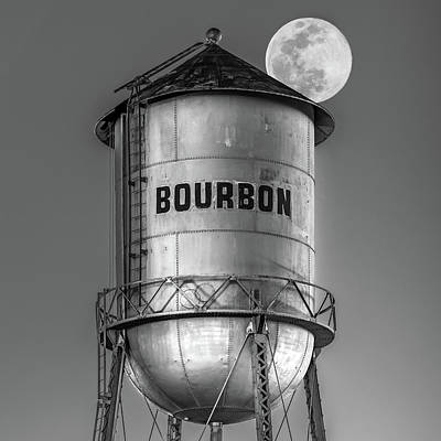 Photograph - Bourbon Water Tower And Full Supermoon Monochrome by Gregory Ballos
