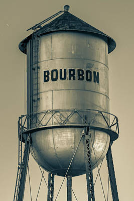 Photograph - Bourbon Water Tower Architecture In Sepia by Gregory Ballos
