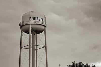 Photograph - Bourbon Water Tower Sepia Print by Gregory Ballos