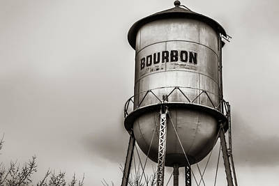 Photograph - Bourbon Water Tower - Sepia Whiskey Art by Gregory Ballos