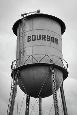 Photograph - Bourbon Whiskey Old Water Tower - Black And White by Gregory Ballos