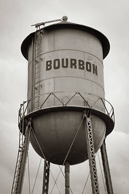 Photograph - Bourbon Whiskey Old Water Tower - Sepia Monochrome by Gregory Ballos
