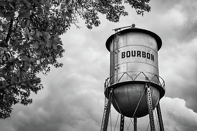 Photograph - Bourbon Whiskey Water Tower And Clouds - Black And White Edition by Gregory Ballos