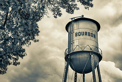 Photograph - Bourbon Whiskey Water Tower And Clouds - Sepia Edition by Gregory Ballos
