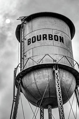 Photograph - Bourbon Whiskey Water Tower Under The Sun - Monochrome Edition by Gregory Ballos