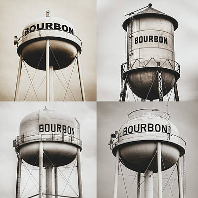 Photograph - Bourbon Whiskey Water Tower Collage - Matte Sepia 1x1 by Gregory Ballos