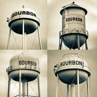 Photograph - Bourbon Whiskey Water Tower Collage - Vintage Sepia 1x1 by Gregory Ballos