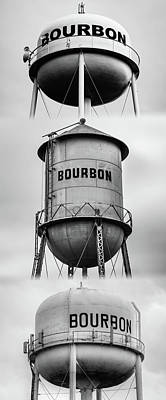 Photograph - Bourbon Whiskey Water Tower Vertical Collage - Monochrome Edition by Gregory Ballos