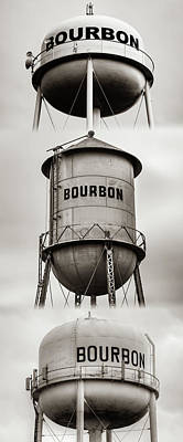 Photograph - Bourbon Whiskey Water Tower Vertical Collage - Sepia Edition by Gregory Ballos