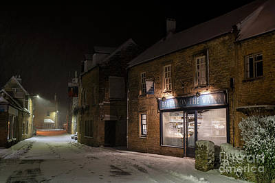 Photograph - Bourton On The Water At Night In The January Snow  by Tim Gainey