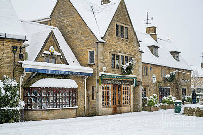 Photograph - Bourton On The Water High Street In The Snow by Tim Gainey