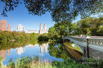 Photograph - Bow Bridge In Springtime, Central Park, New York by Matteo Colombo