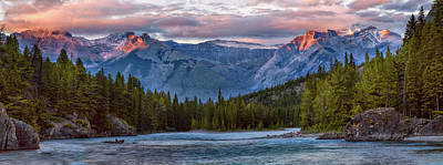 Photograph - Bow River Sunset Reflections Panorama by Dave Dilli