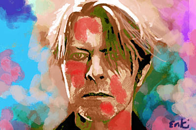 Musicians Drawings Rights Managed Images - Bowie Clouds by Enki  Royalty-Free Image by Enki Art