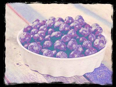 Food And Flowers Still Life Rights Managed Images - Bowl Of Blueberries 2 Royalty-Free Image by Cathy Lindsey