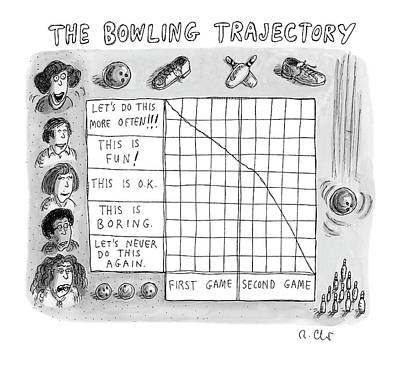 Drawing - Bowling Trajectory by Roz Chast