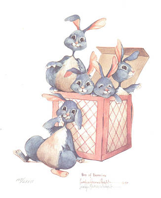 Wall Art - Painting - Box Of Bunnies by Carolyn Shores Wright