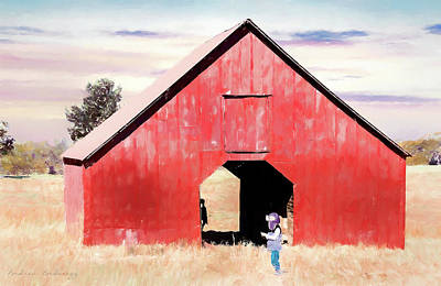 Photograph - Boy And A Barn #digitalpainting by Andrea Anderegg