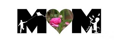Photograph - Boy And Girl-pink Ranunculus In Heart Mom Big Letter by Colleen Cornelius