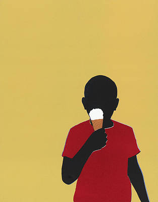 Holding Digital Art - Boy Eating Ice Cream Cone by Amy Devoogd