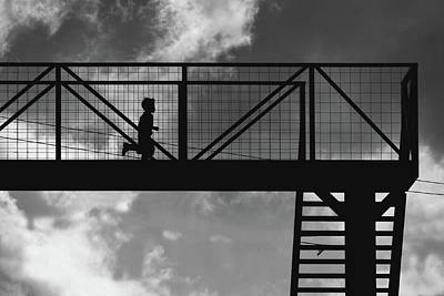Photograph - Boy Running On Highway Bridge In Guatemala Bw by Tatiana Travelways