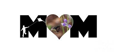 Photograph - Boy Silhouette And Butterfly On Lavender In Heart Mom Big Letter by Colleen Cornelius