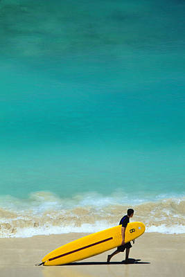 Water Photograph - Boy With Yellow Surfboard At Waikiki by Ann Cecil