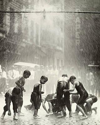 Photograph - Boys Gazing Into Water For Hidden Cents by Bettmann