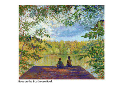 Mixed Media - Boys On The Boathouse by Betsy Derrick