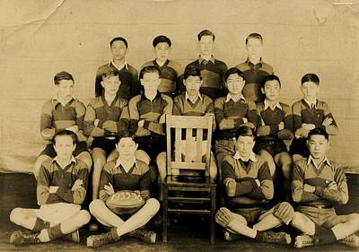 Sports Paintings -  Boys rugby team  possibly from a Vancouver high school    unknown 1936 by Celestial Images