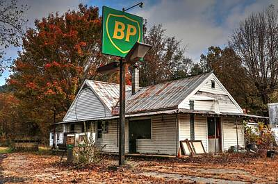 Photograph - Bp Vintage Gas Station  by Carol Montoya