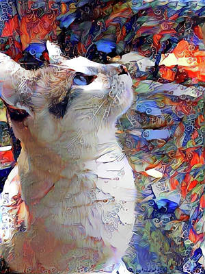 Mixed Media - Brady The Half Siamese Half Tabby Cat by Peggy Collins