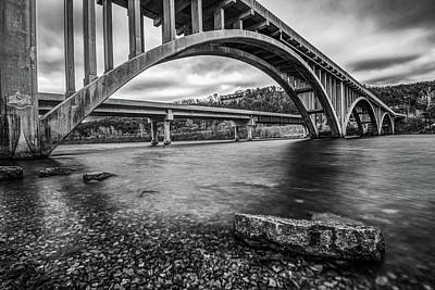 Photograph - Branson Lake Taneycomo Bridge Monochrome by Gregory Ballos