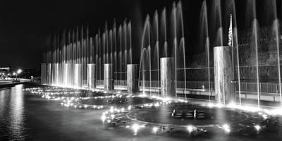 Photograph - Branson Landing Fountains - Panoramic Monochrome Edition by Gregory Ballos