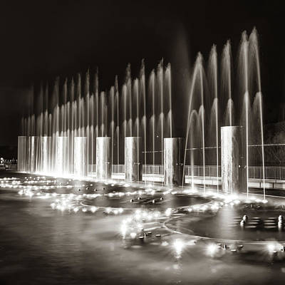 Photograph - Branson Landing Fountains - Square Sepia Edition by Gregory Ballos