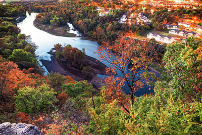 Photograph - Branson Missouri Route 165 Scenic Overlook - Table Rock Lake In Autumn by Gregory Ballos