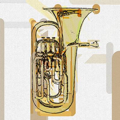 Mixed Media - Brass Euphonium 2 by David Ridley