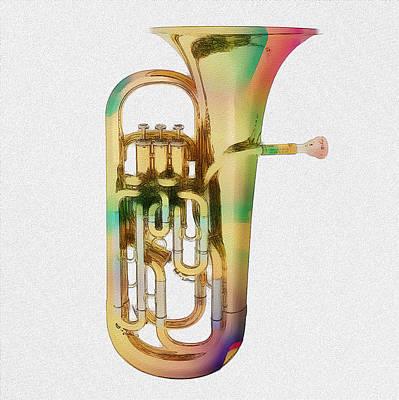 Mixed Media - Brass Euphonium 3 by David Ridley