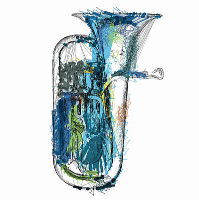 Mixed Media Royalty Free Images - Brass Euphonium 4 Royalty-Free Image by David Ridley