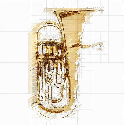 Mixed Media Royalty Free Images - Brass Euphonium Royalty-Free Image by David Ridley