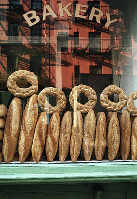 Photograph - Bread In Bakery Window In New York by Alan Becker