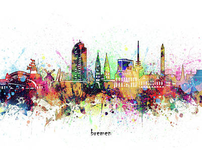 Abstract Skyline Royalty-Free and Rights-Managed Images - Bremen Skyline Artistic by Bekim M