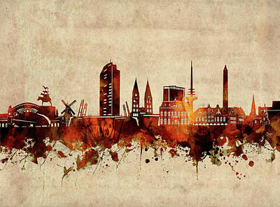 Abstract Skyline Royalty-Free and Rights-Managed Images - Bremen Skyline Sepia by Bekim M