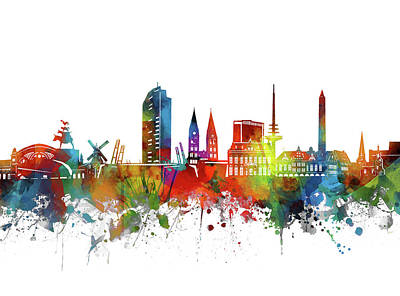 Abstract Skyline Royalty-Free and Rights-Managed Images - Bremen Skyline Watercolor 2 by Bekim M