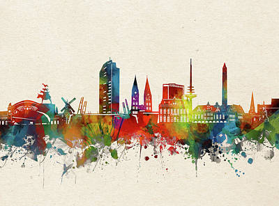 Abstract Skyline Royalty-Free and Rights-Managed Images - Bremen Skyline Watercolor by Bekim M